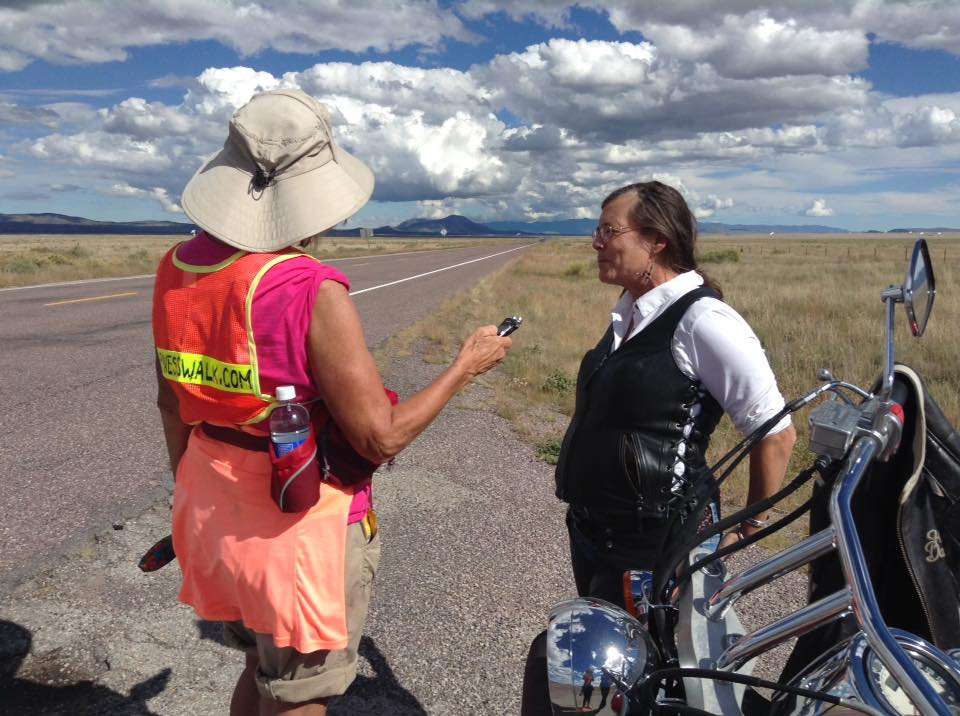 "Suzanne conducting a ""what matters most"" interview on the road in New Mexico."