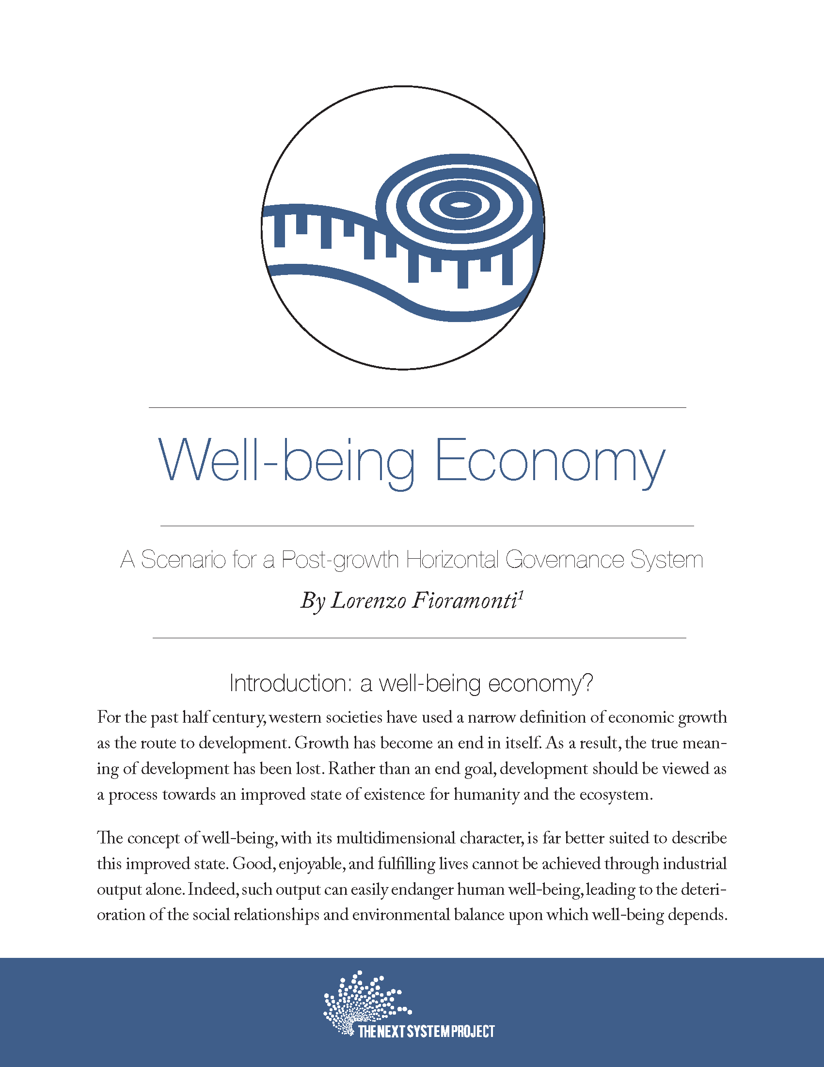 Well-being Economy: A Scenario For A Post-growth Horizontal Governance System